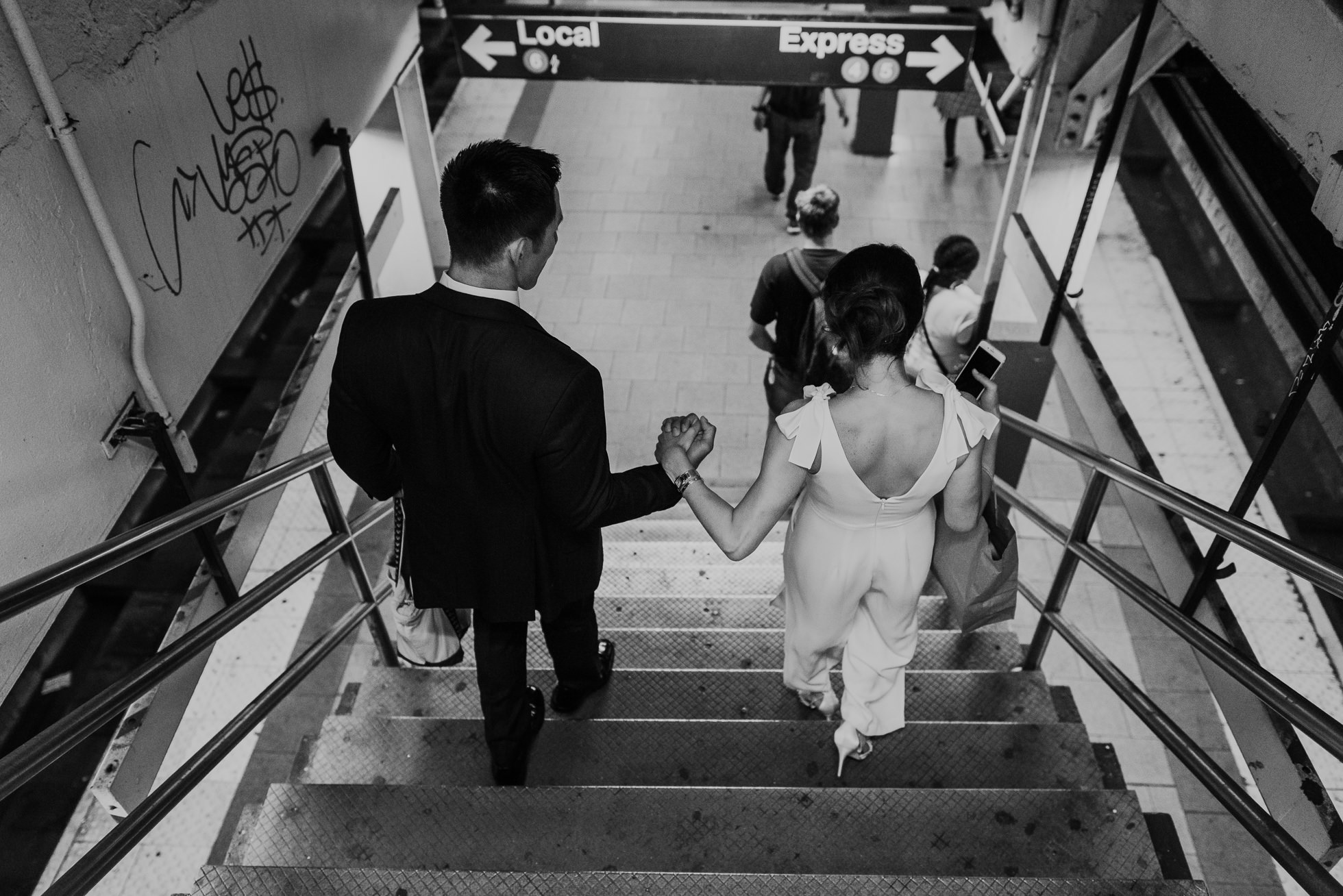 subway wedding photos