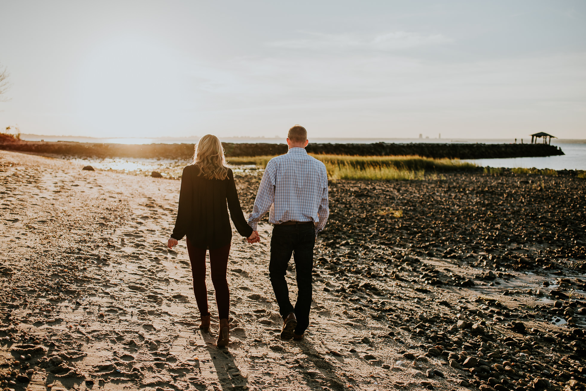 sunset engagement session photographed by Traverse the Tides