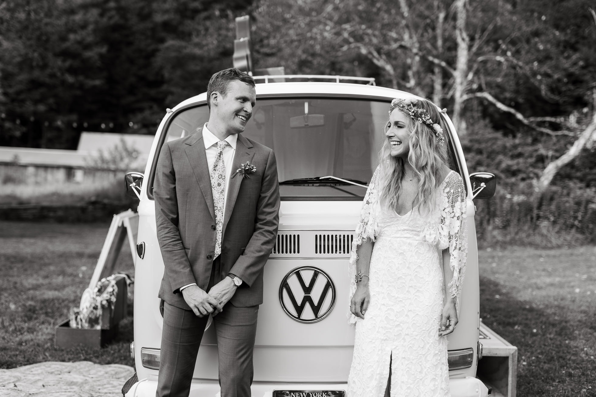vw bus wedding portrait