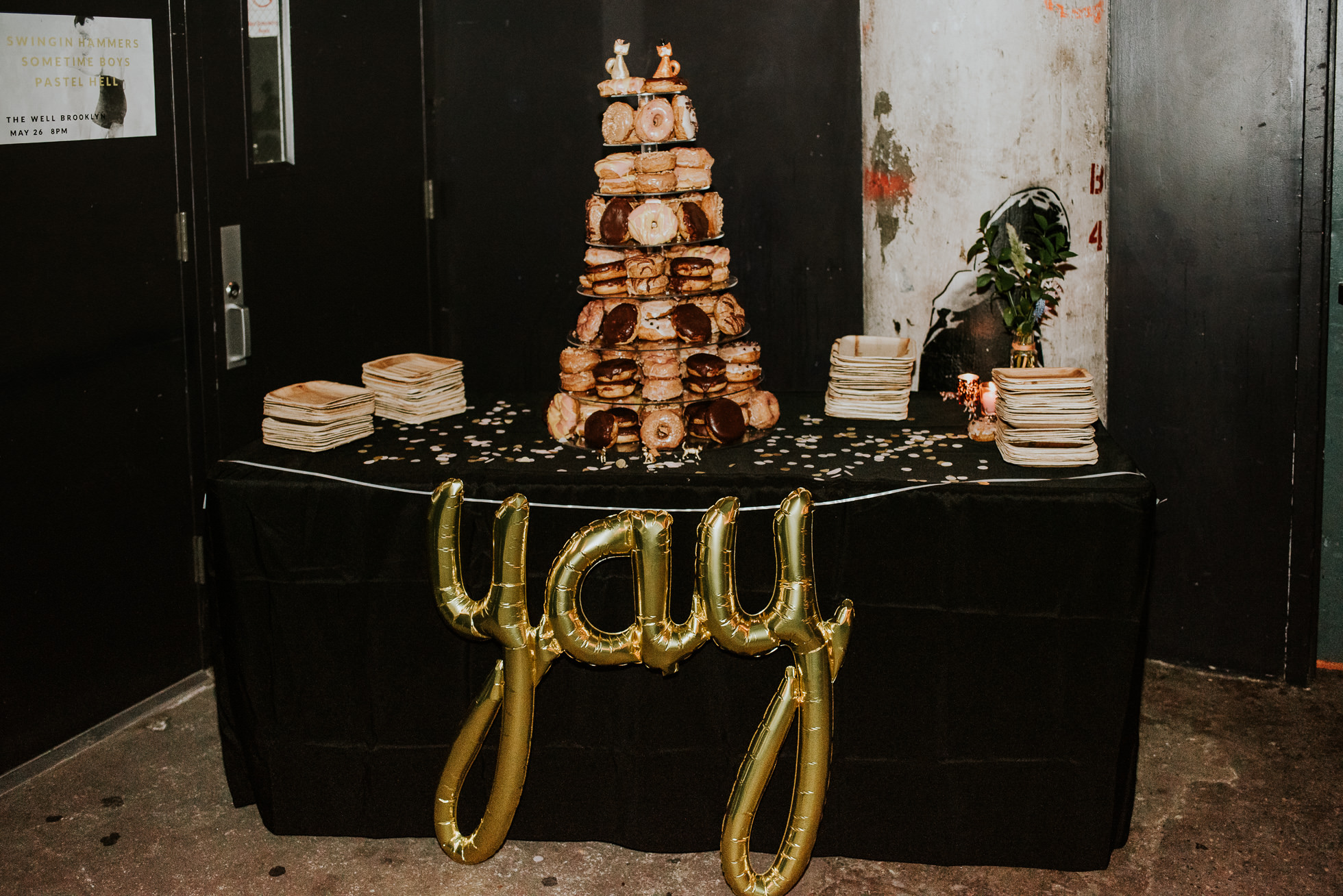 wedding donut display photographed by Traverse The Tides