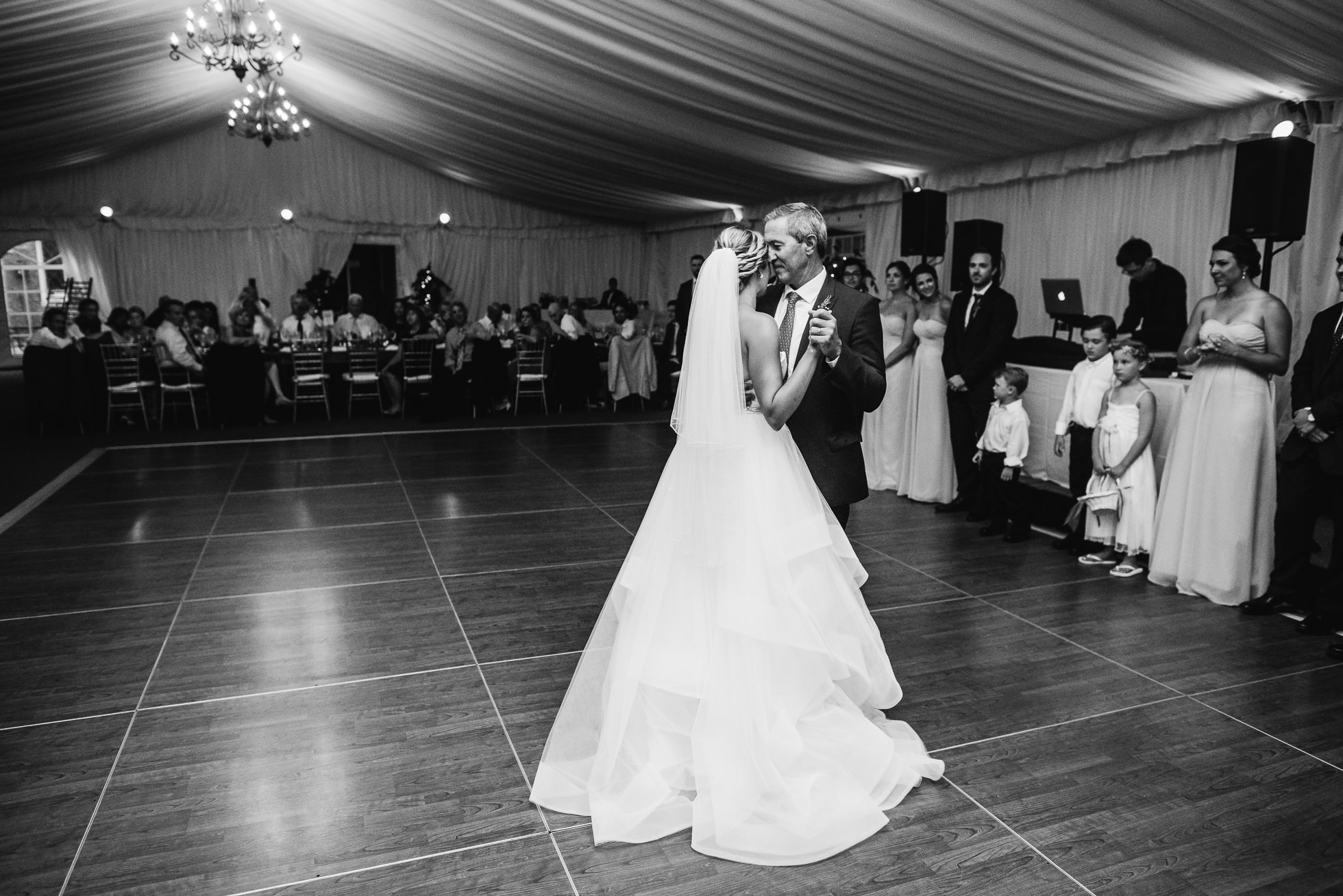 bride and father first dance at lyndhurst castle wedding photographed by traverse the tides