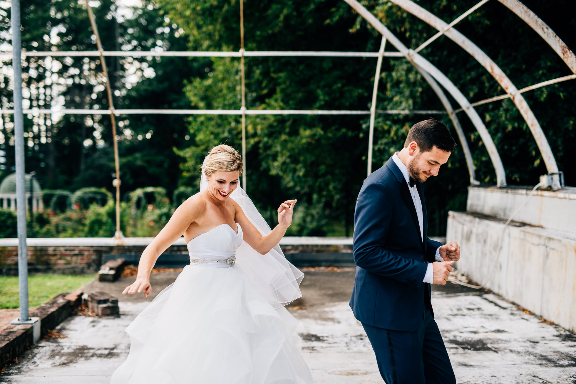 bride and groom dancing in greenhouse at lyndhurst castle photographed by traverse the tides