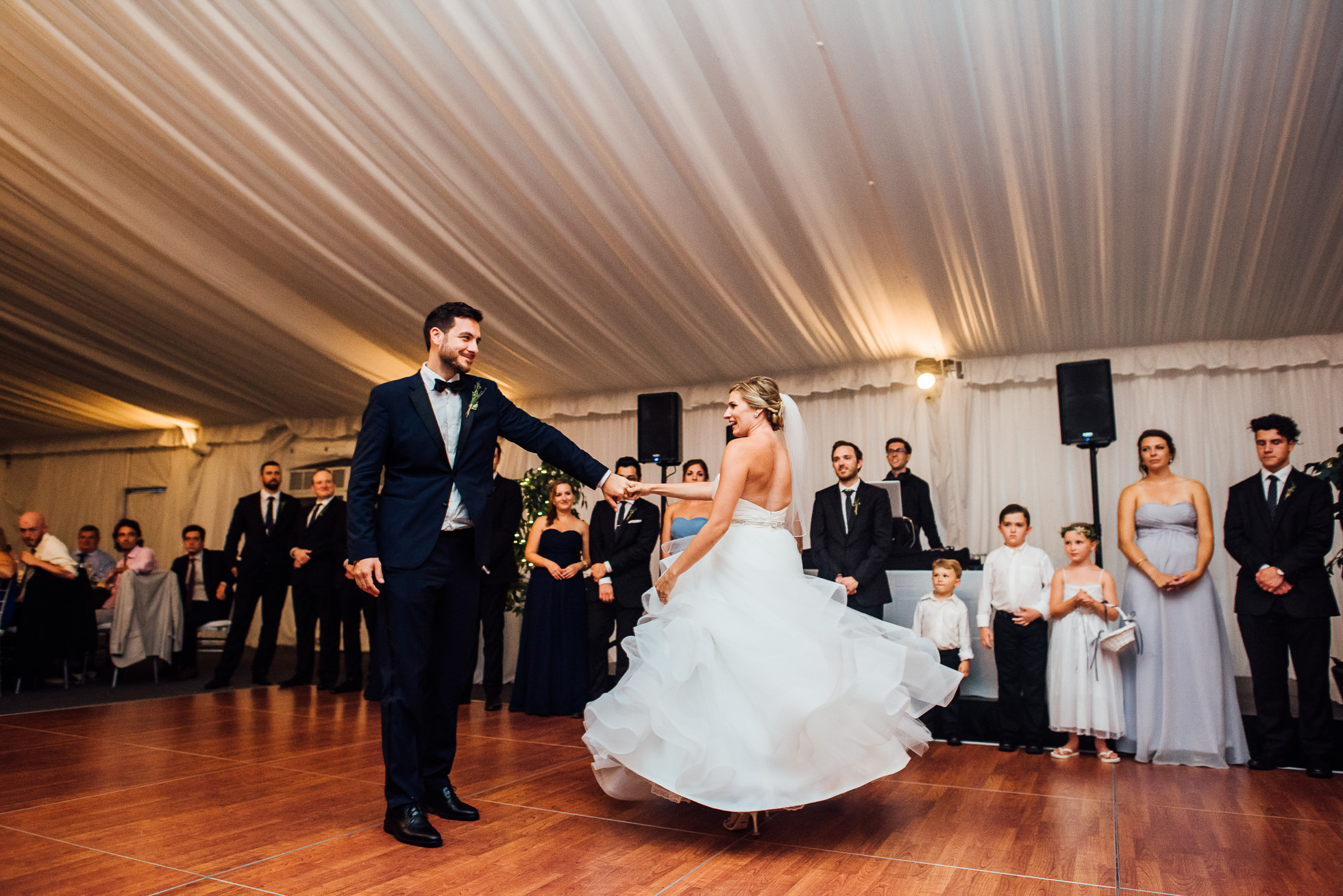 bride and groom first dance at lyndhurst castle wedding photographed by traverse the tides-2