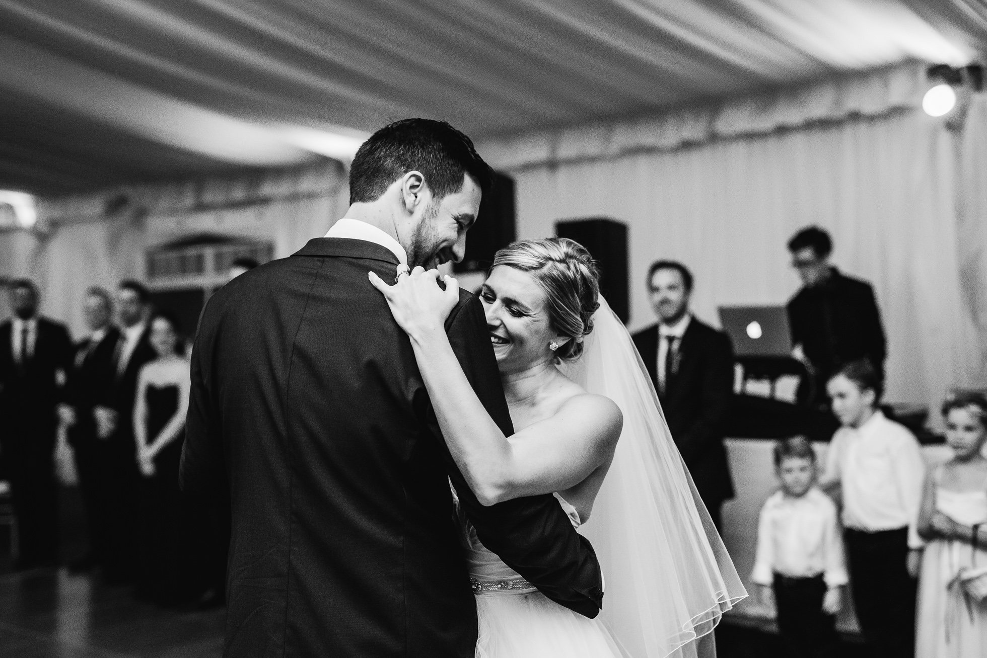 bride and groom first dance at lyndhurst castle wedding photographed by traverse the tides