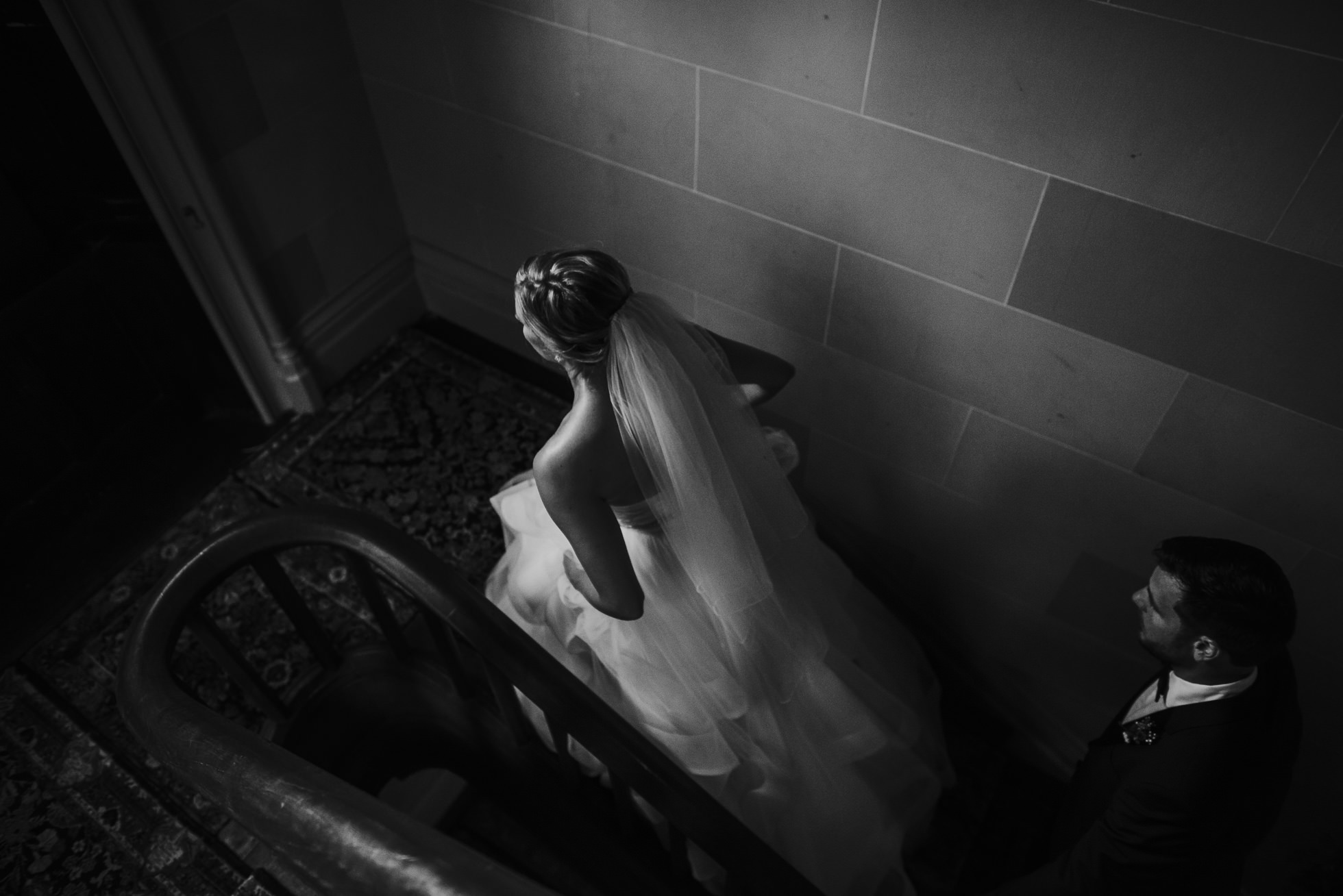 bride and groom inside mansion at lyndhurst castle photographed by traverse the tides