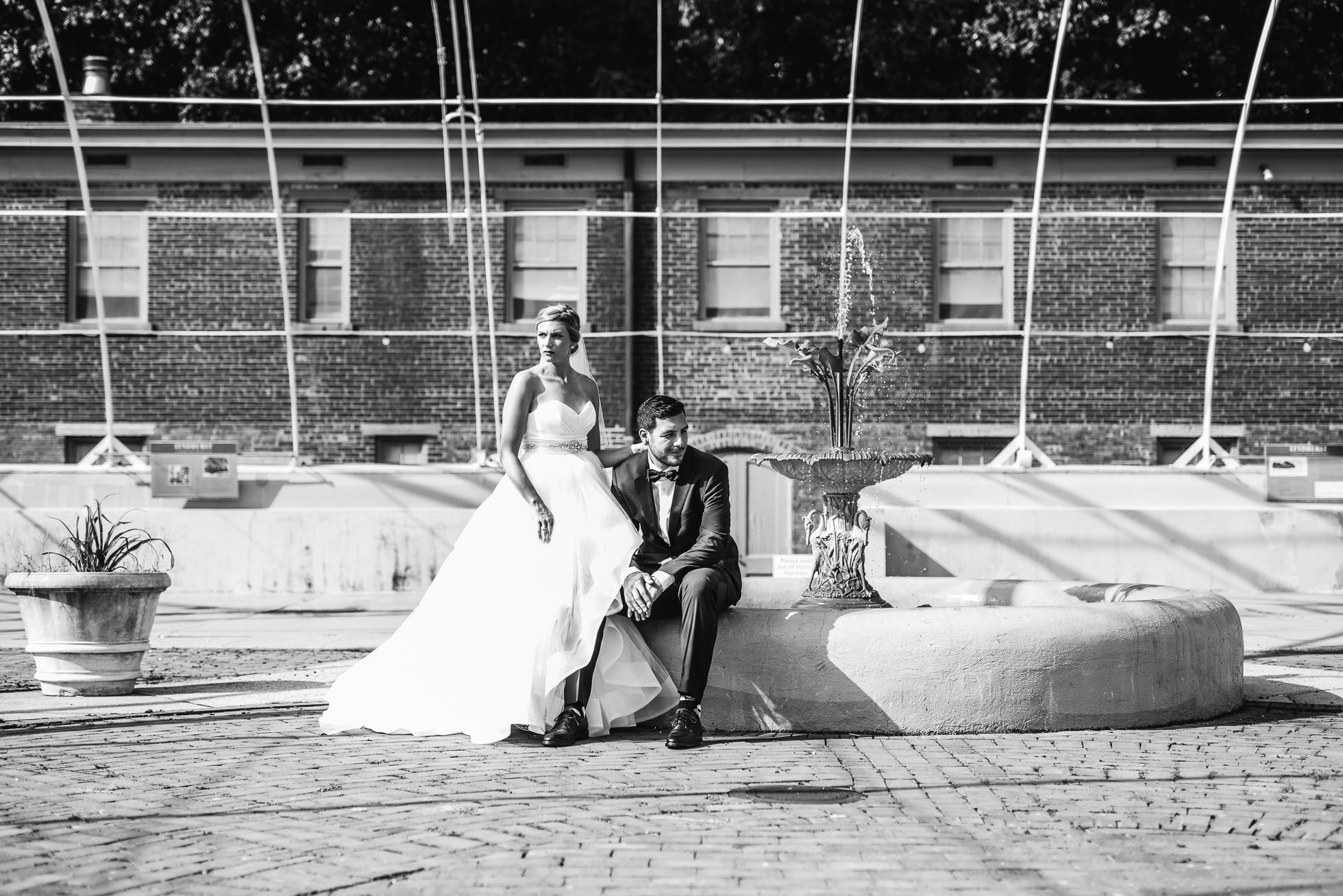 bride and groom portraits in greenhouse at lyndhurst castle photographed by traverse the tides-2