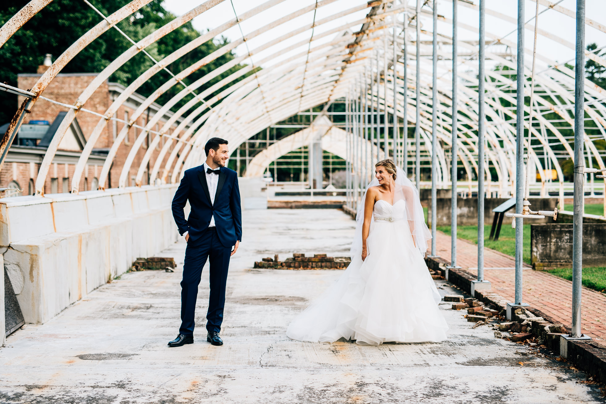 bride and groom portraits in greenhouse at lyndhurst castle photographed by traverse the tides