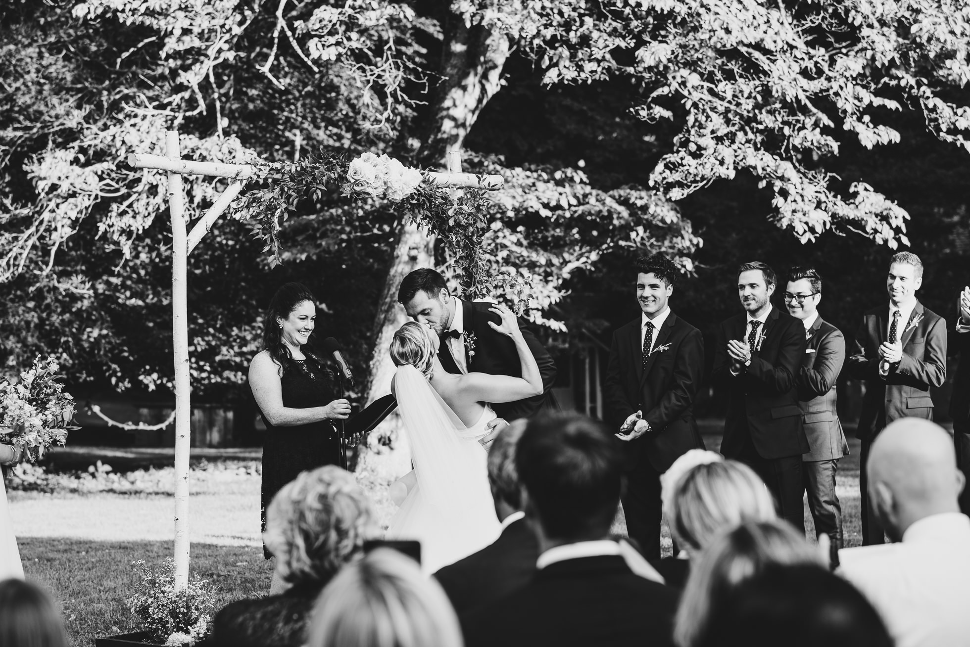 first kiss wedding ceremony at lyndhurst castle photographed by traverse the tides