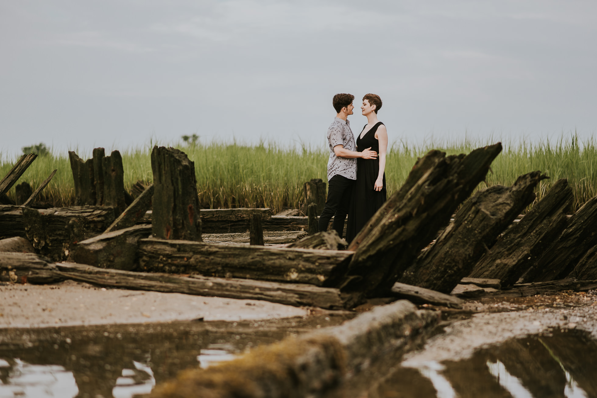 shore line engagement session photographed by traverse the tides