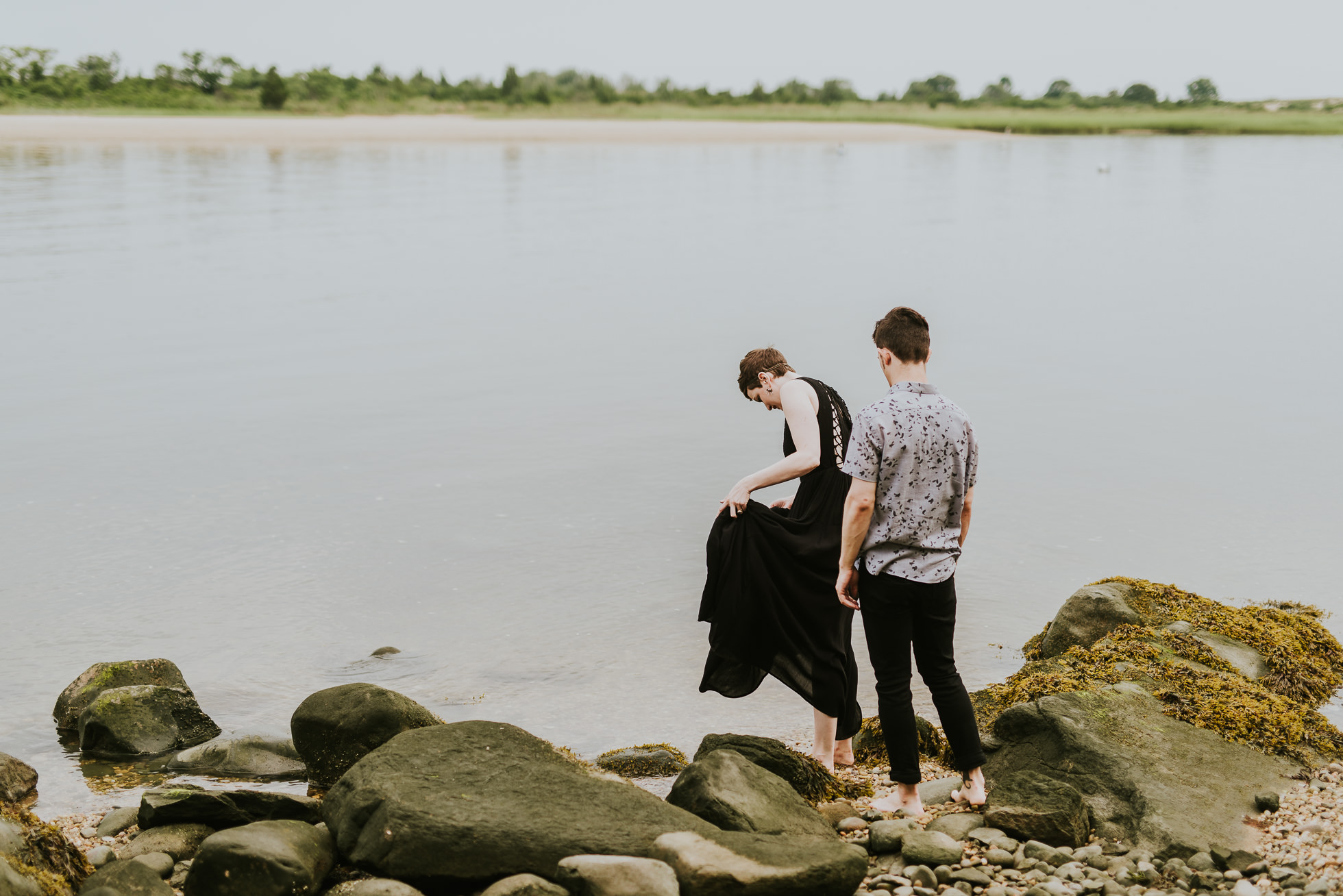 water engagement session photographed by traverse the tides
