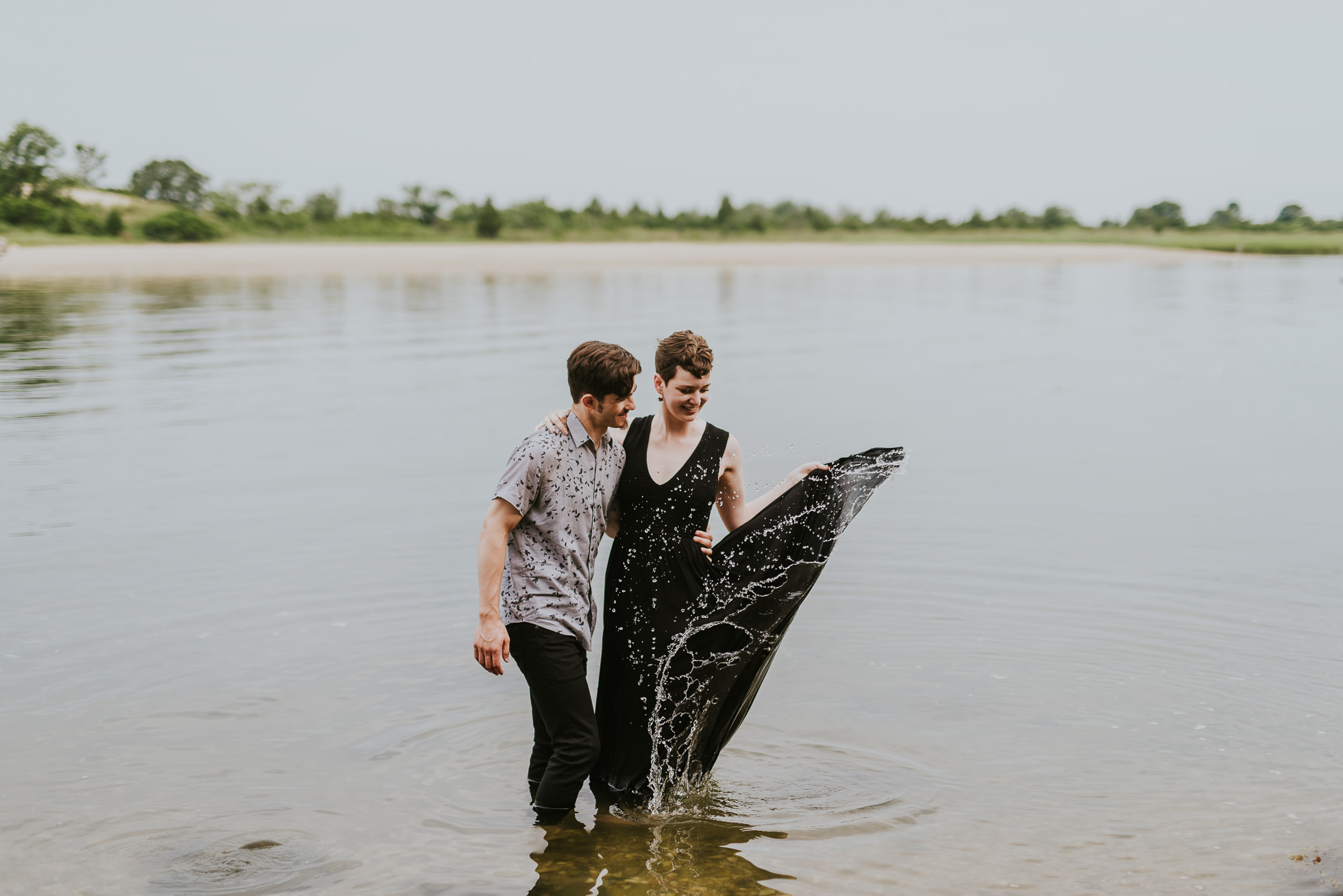 dress in water engagement photographed by traverse the tides