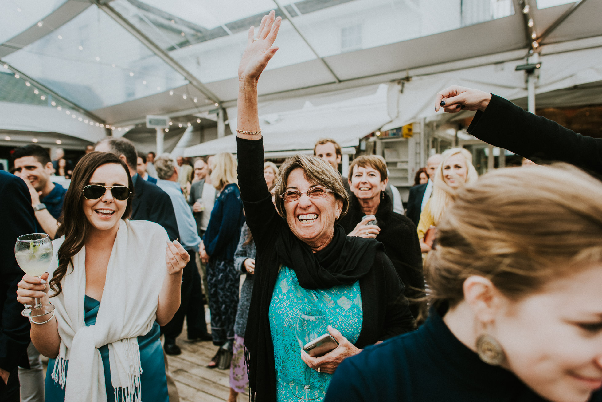 wedding guests having fun at the surf lodge Montauk wedding photographed by Traverse the Tides