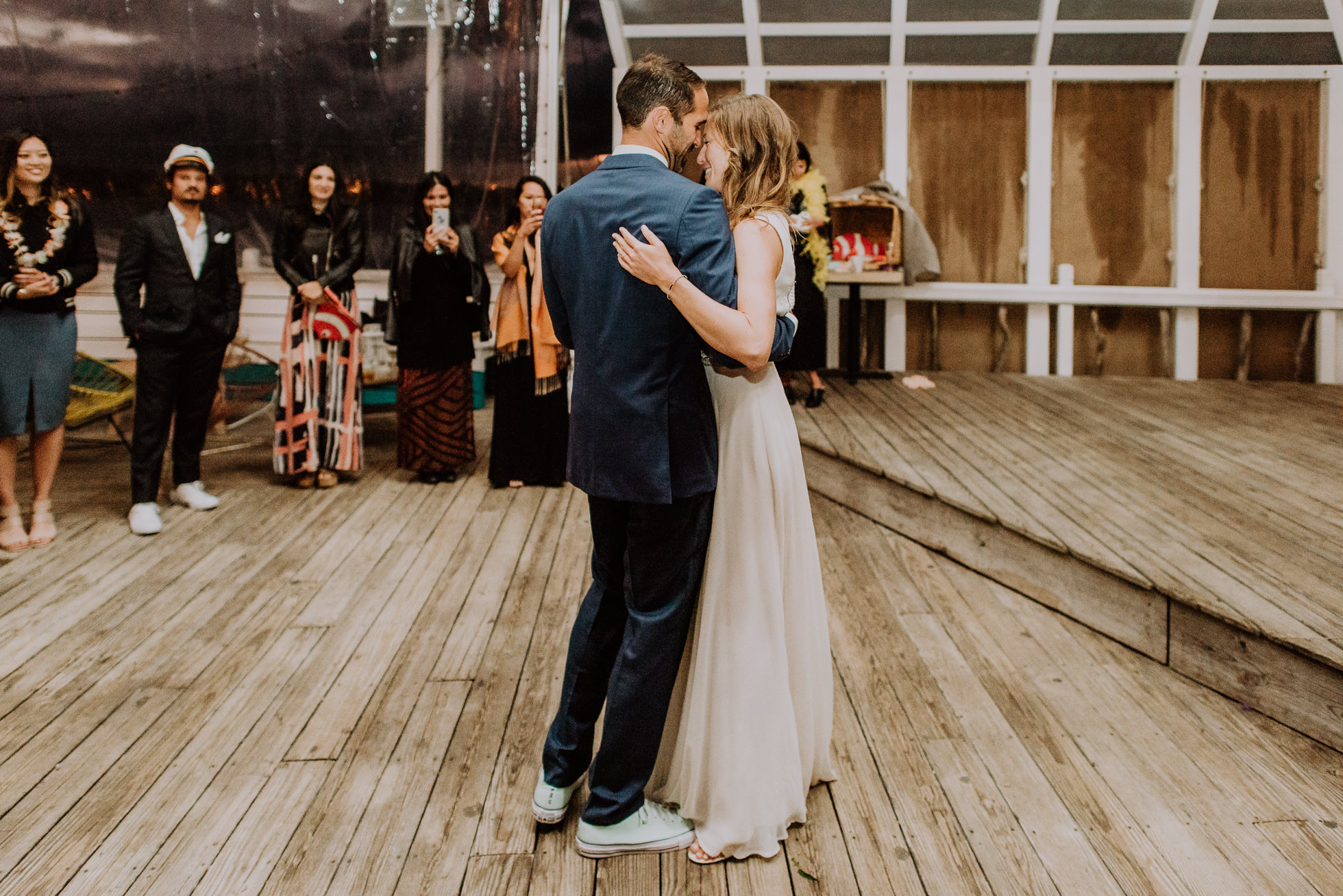 bride and groom first dance at the surf lodge reception Montauk wedding photographed by Traverse the Tides