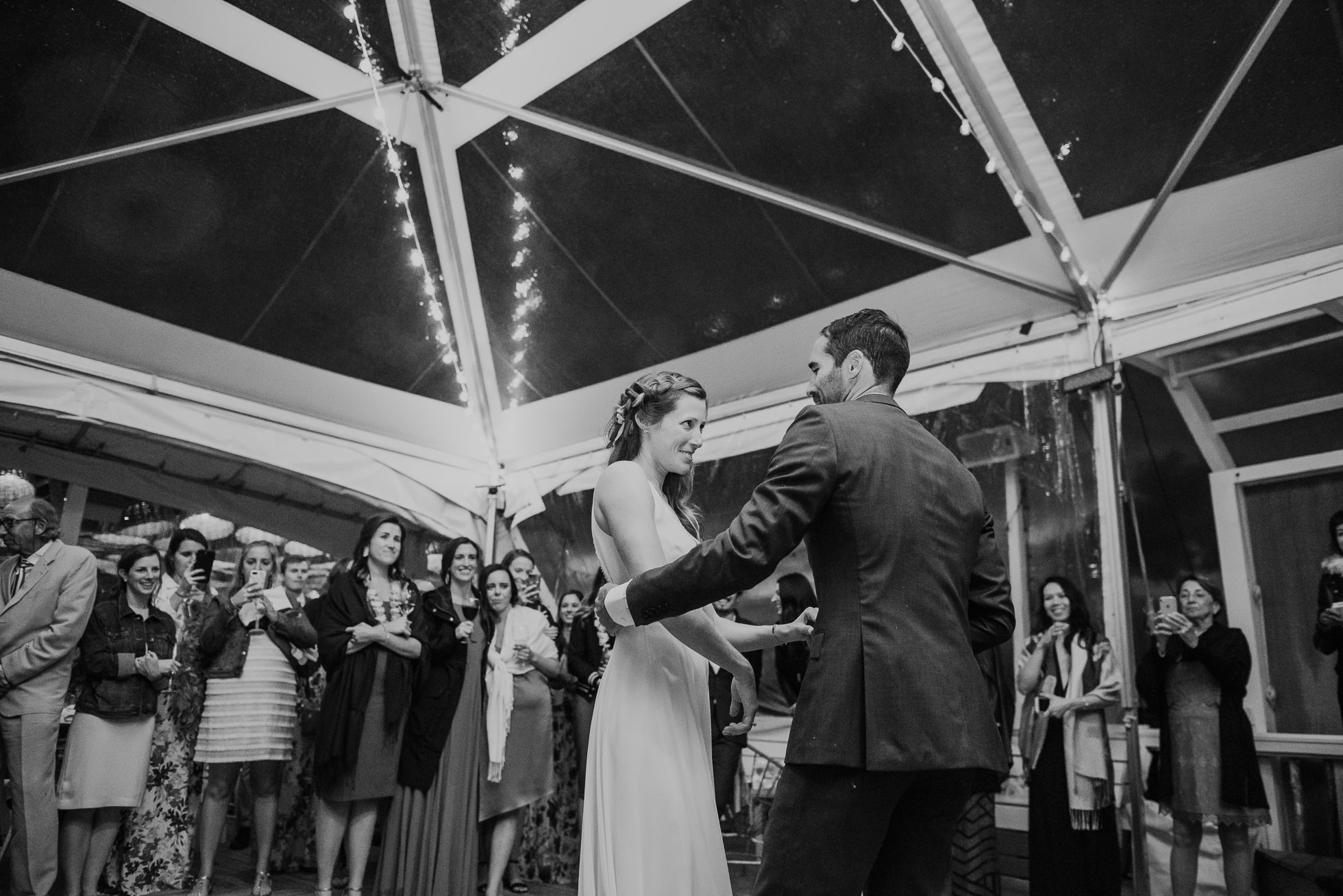 boho bride first dance at the surf lodge reception Montauk wedding photographed by Traverse the Tides
