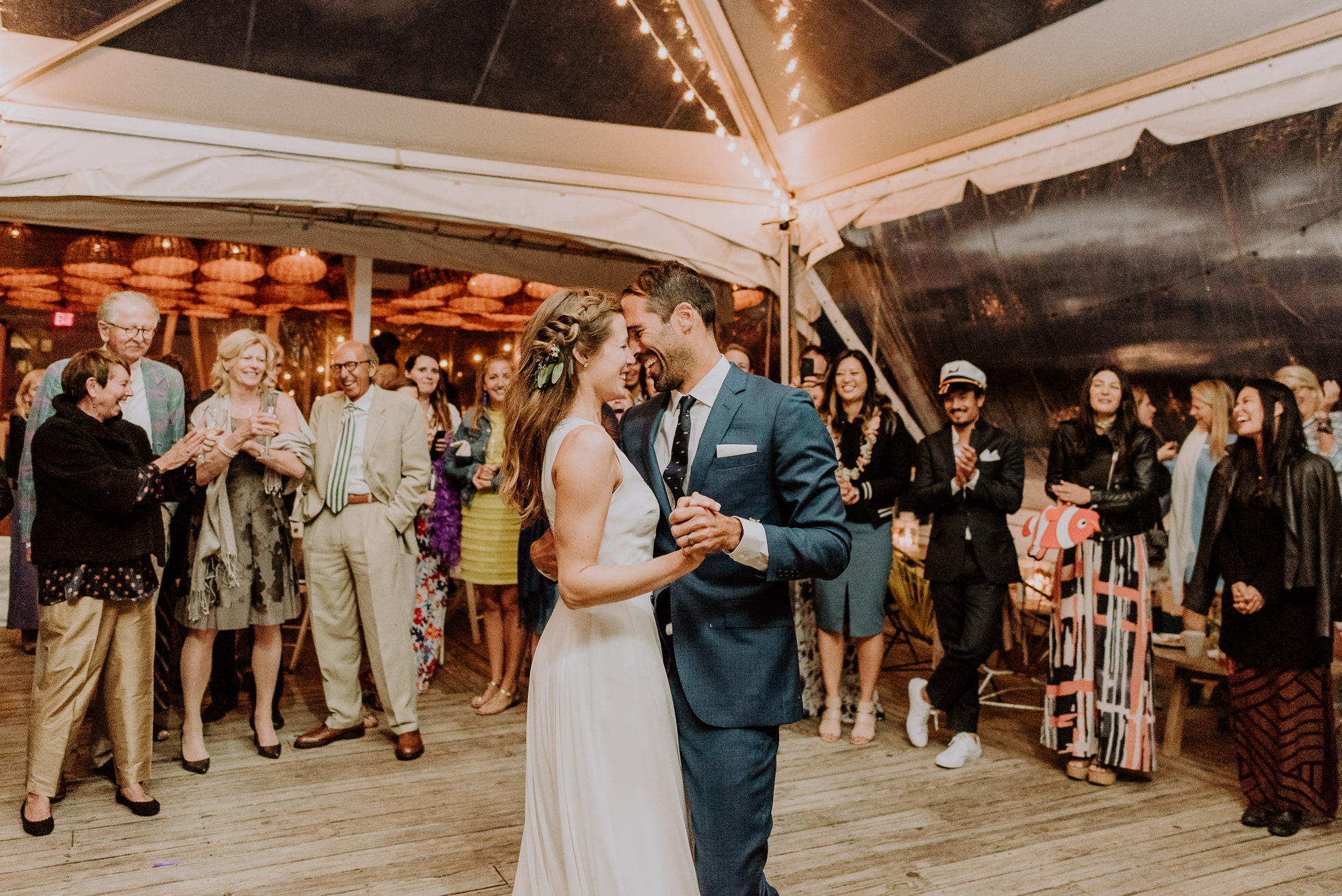 boho bride and groom first dance at the surf lodge reception Montauk wedding photographed by Traverse the Tides