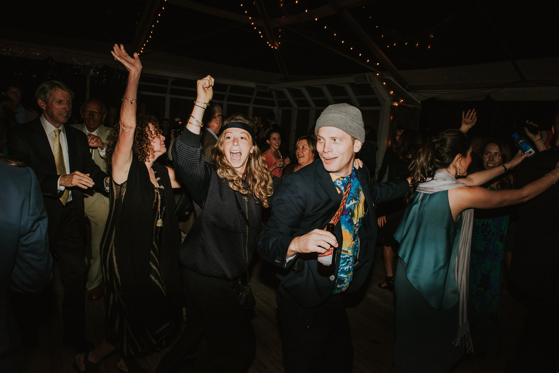 conga line wedding reception Montauk wedding photographed by Traverse the Tides