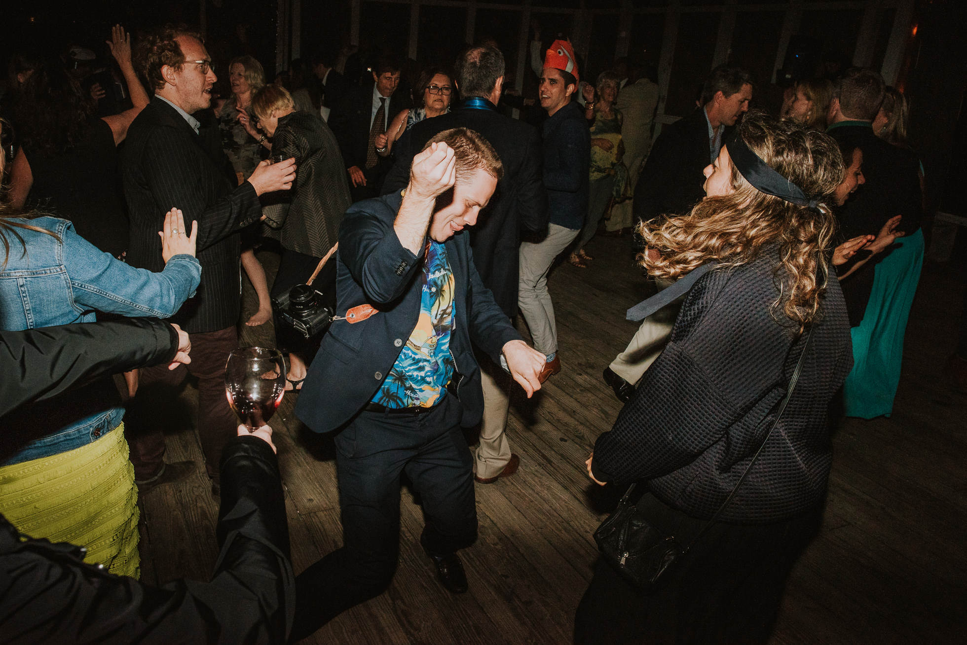 wild guests partying at reception Montauk wedding photographed by Traverse the Tides