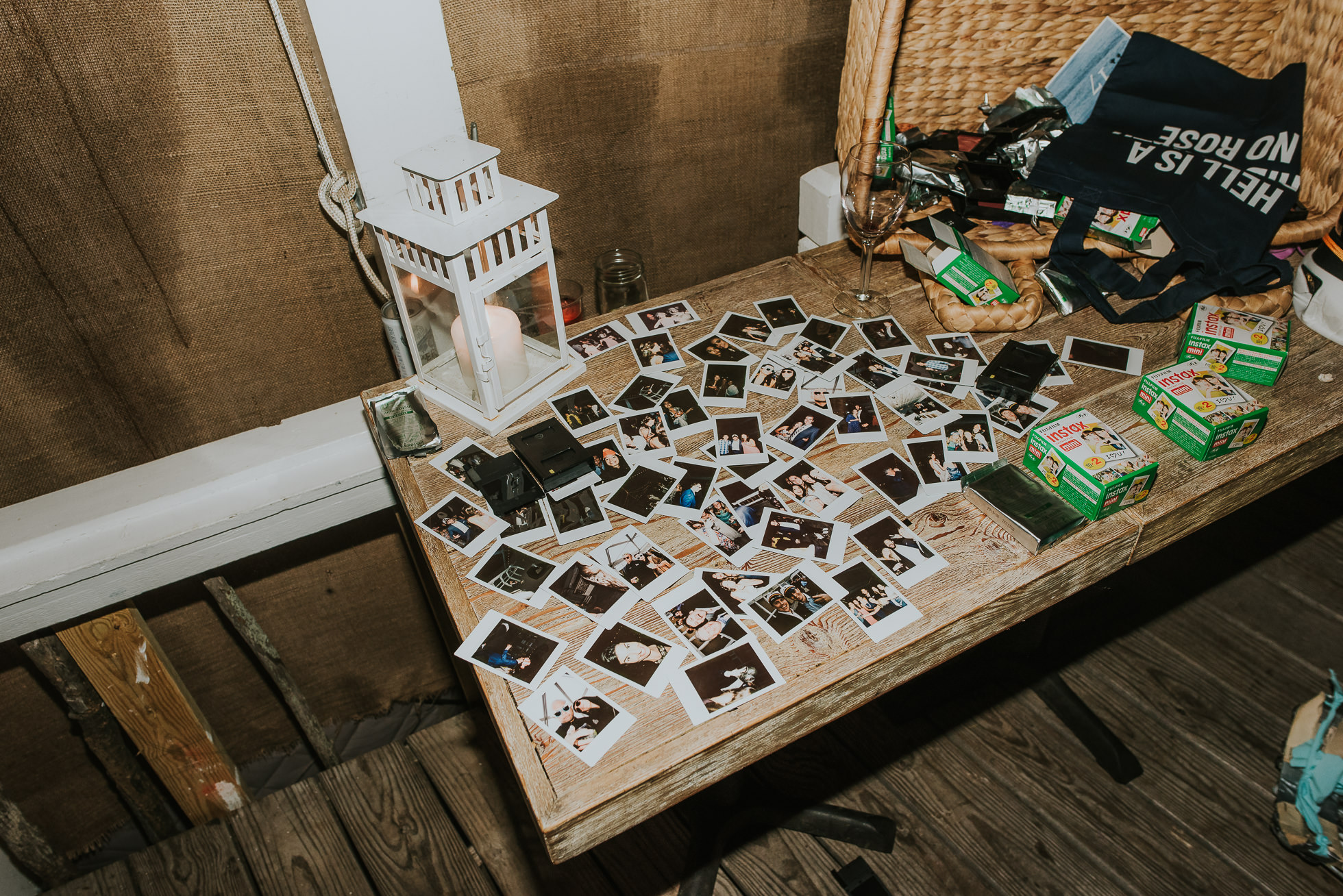 polaroid instant film at reception the surf lodge Montauk wedding photographed by Traverse the Tides
