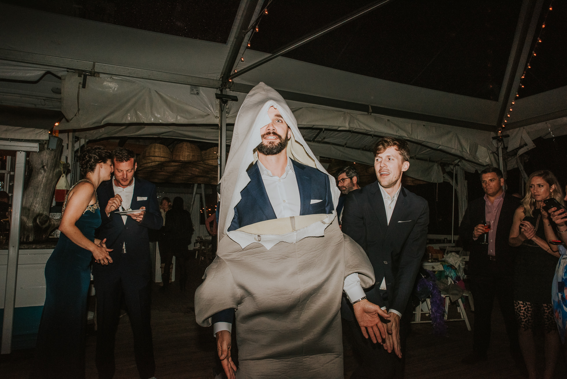 shark costume at reception Montauk wedding photographed by Traverse the Tides