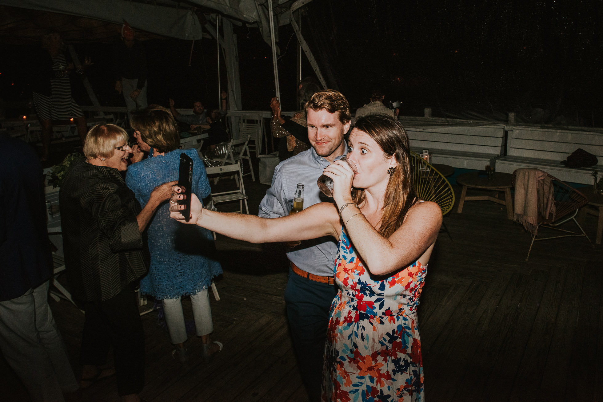 selfie at reception Montauk wedding photographed by Traverse the Tides