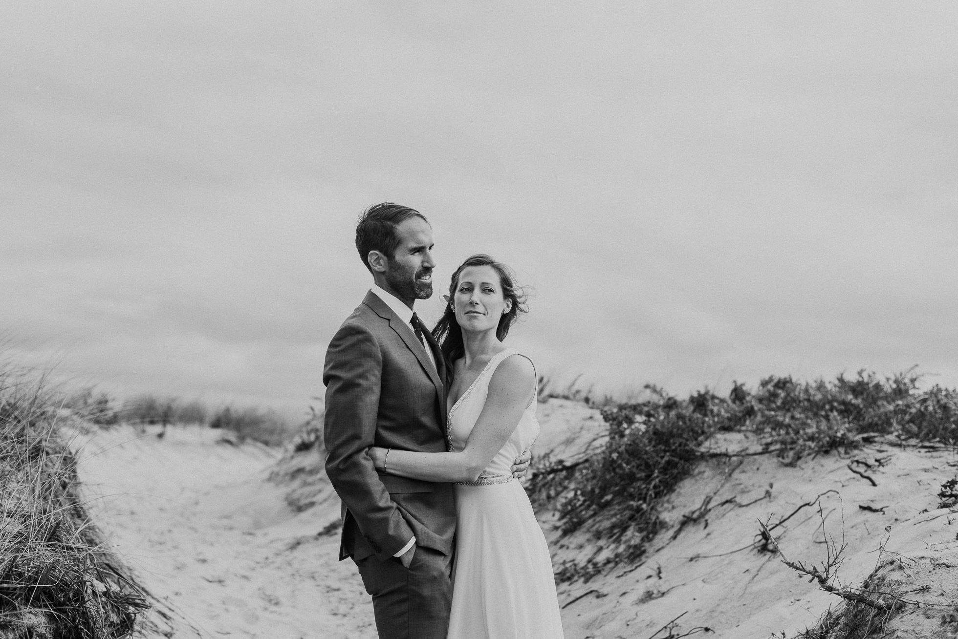 bride and groom portraits Kirk Park Beach Montauk wedding photographed by Traverse the Tides