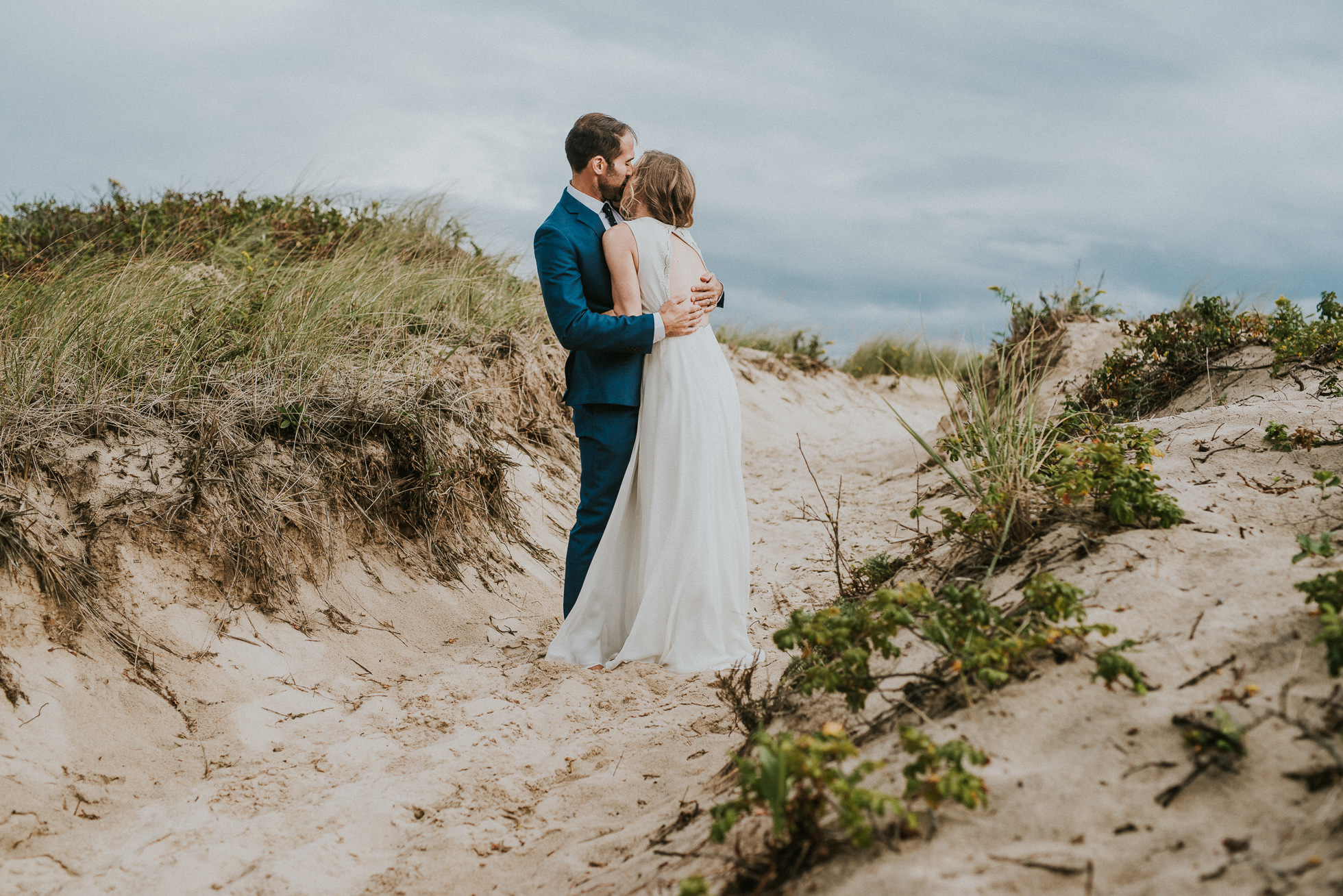 bride and groom portraits sand dunes Montauk wedding photographed by Traverse the Tides