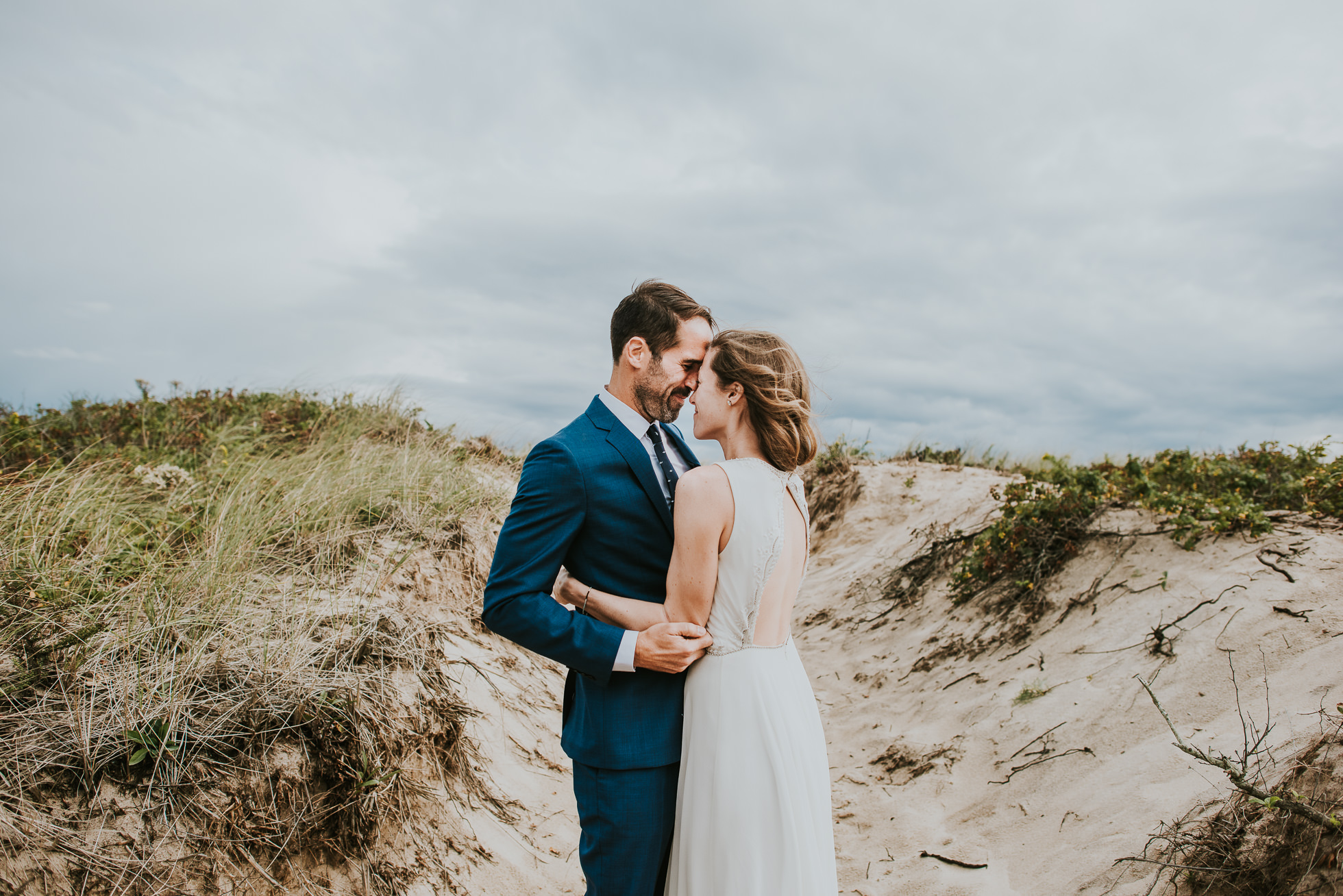 blue groom suit Montauk wedding photographed by Traverse the Tides