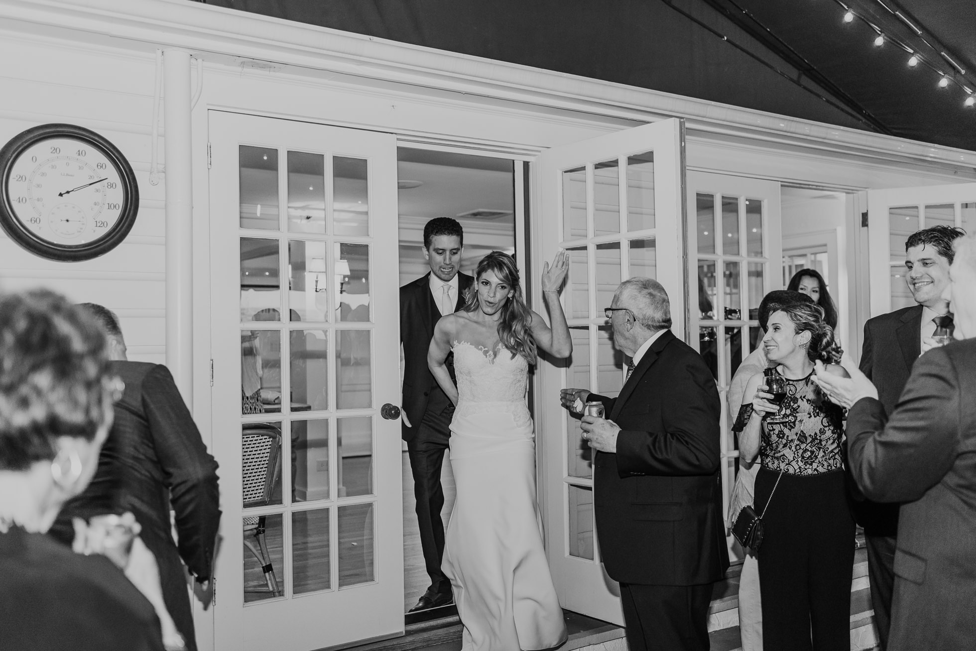 bride and groom entrance the Hedges Inn reception