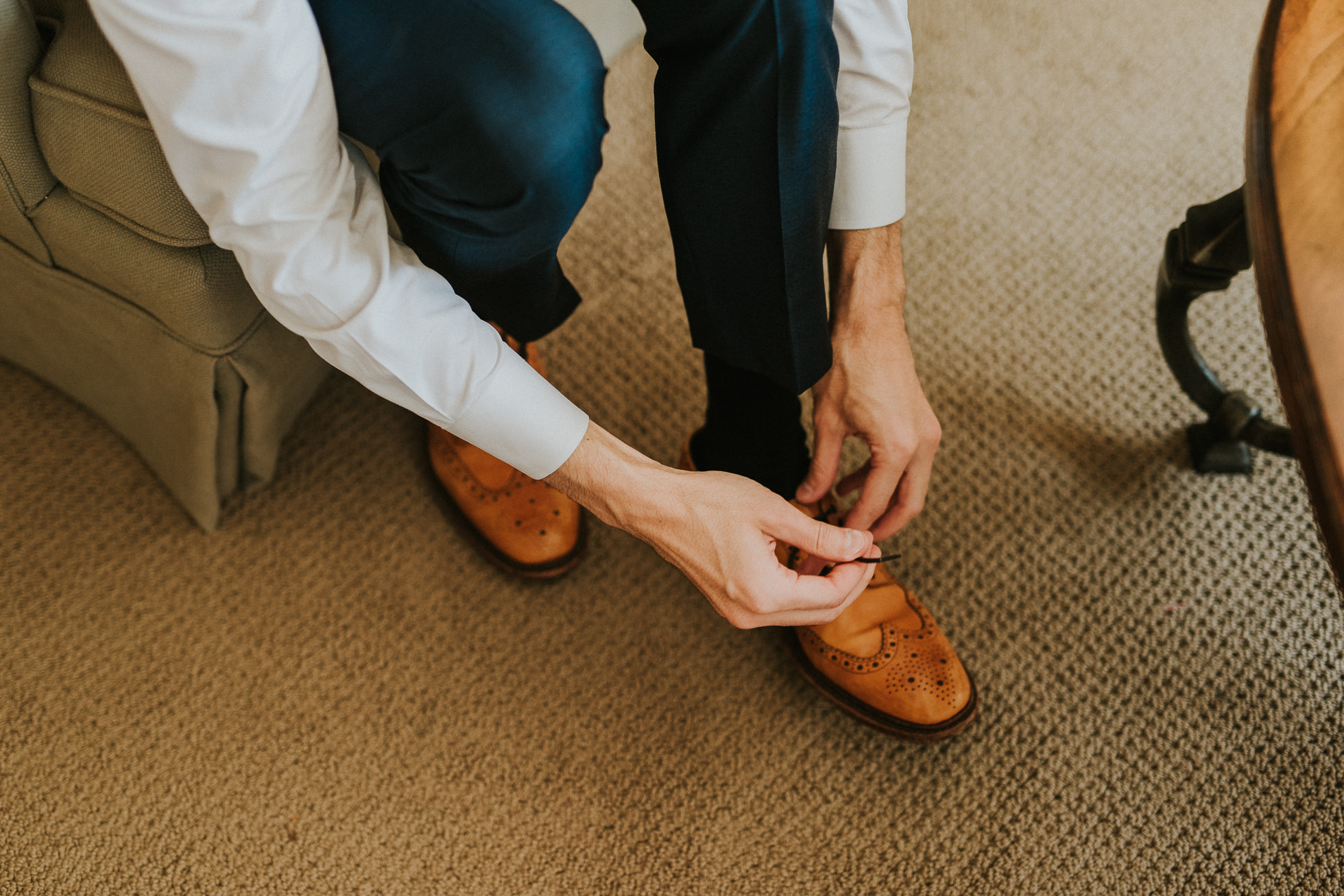 brown wingtip grooms shoes