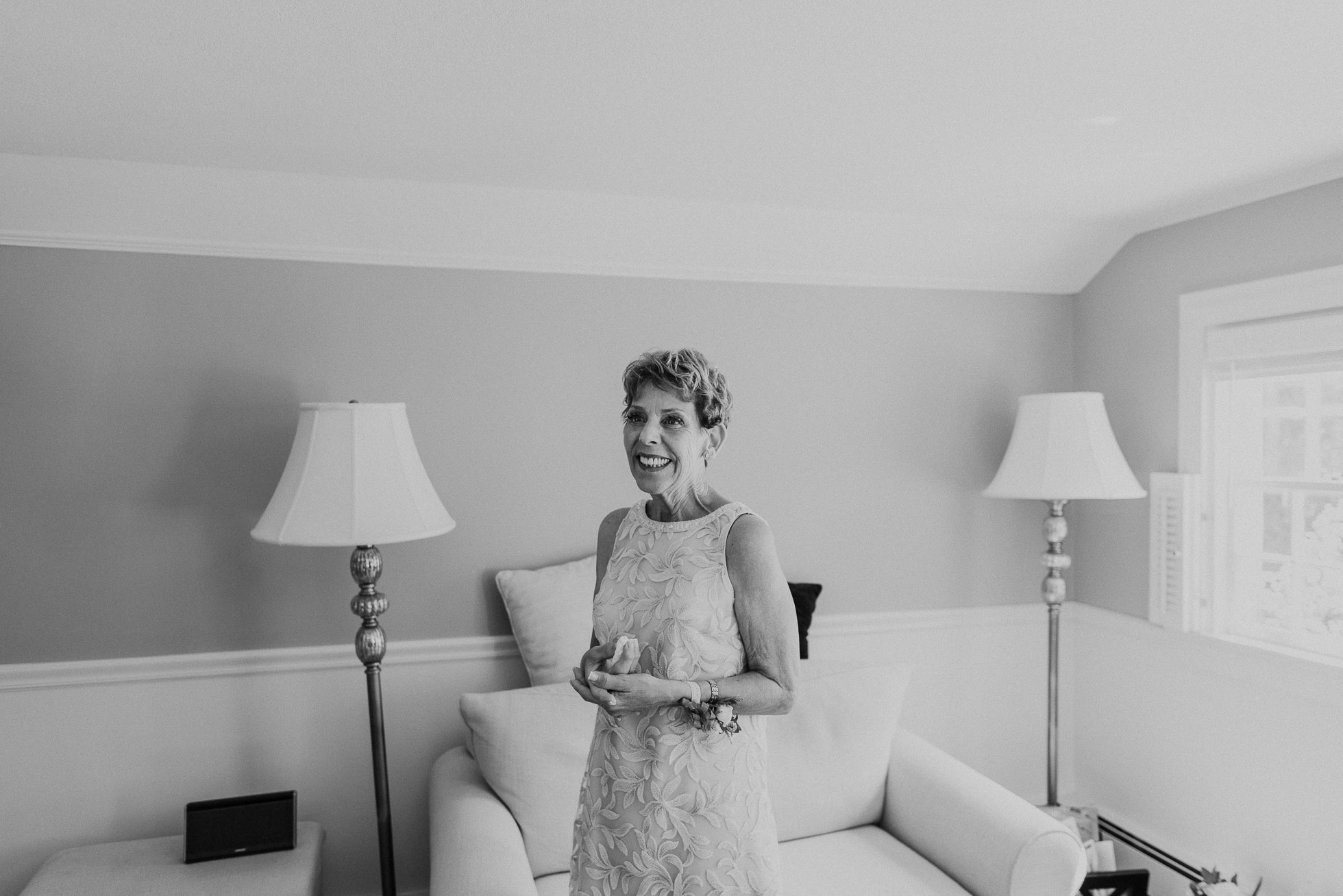 mother of the bride getting ready Hamptons wedding