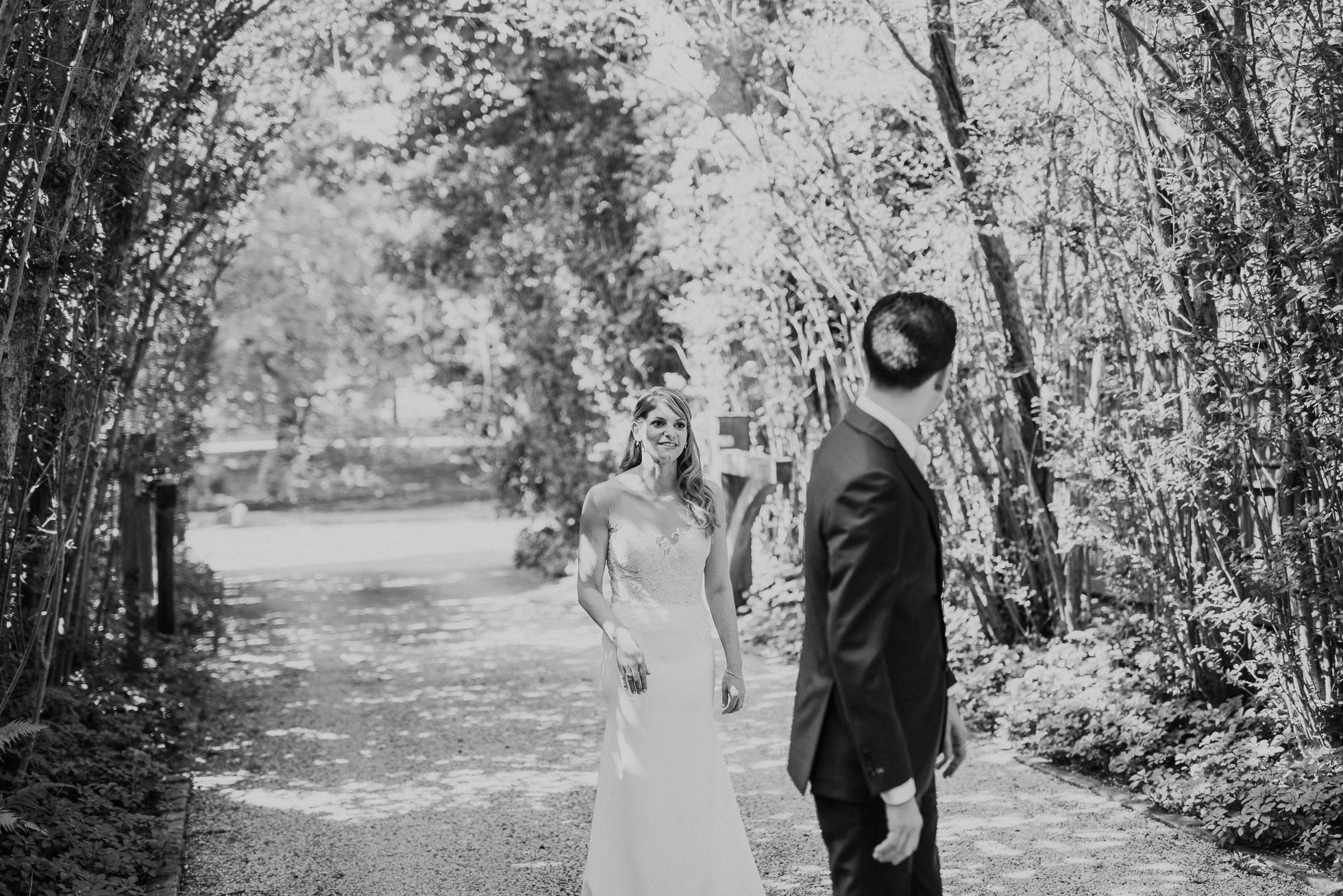 first look The Hedges Inn wedding
