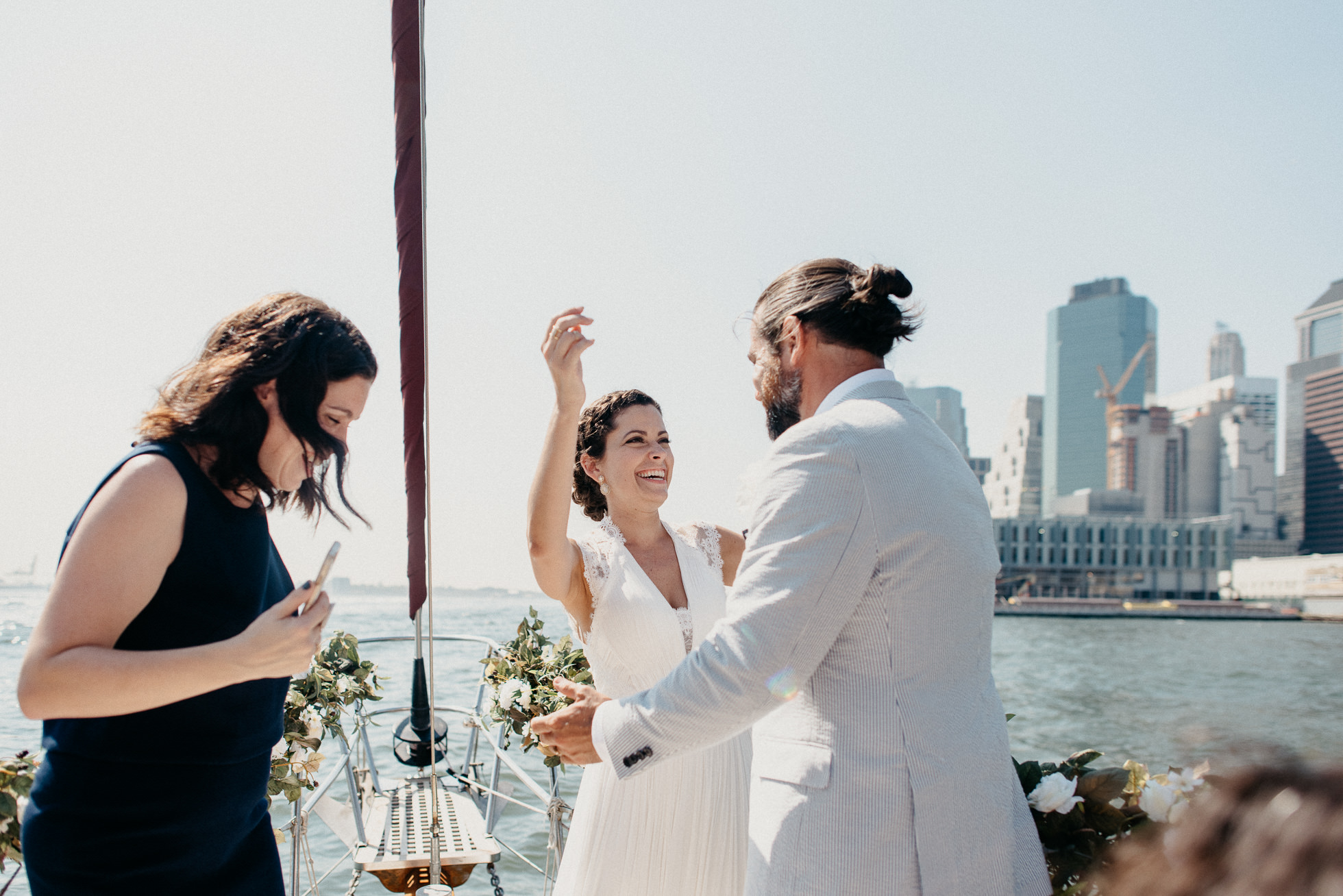 bride and groom on boat