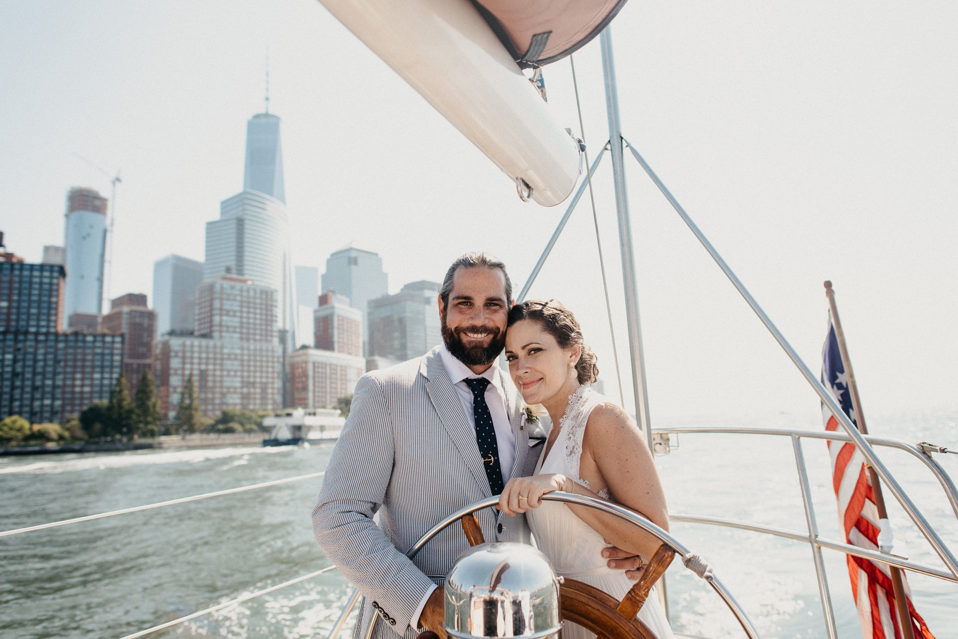 bride and groom yacht nyc