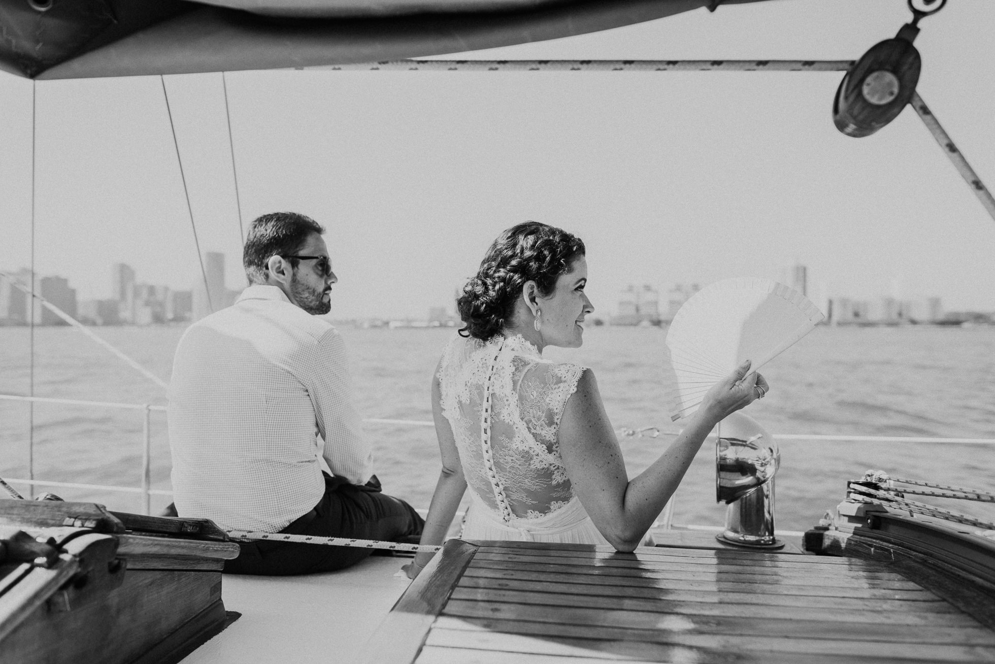 bride on yacht