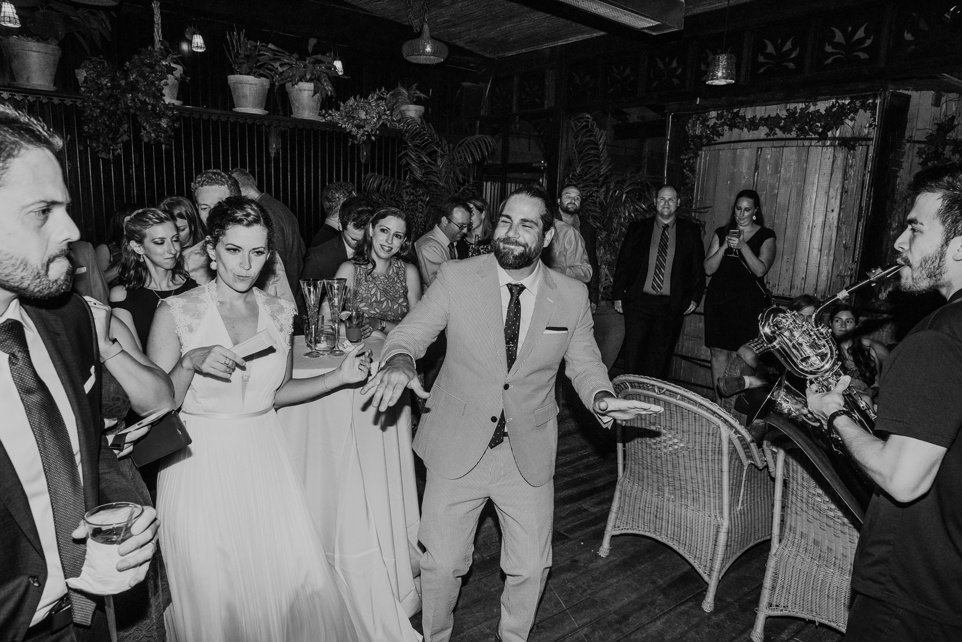 dancing wedding guests