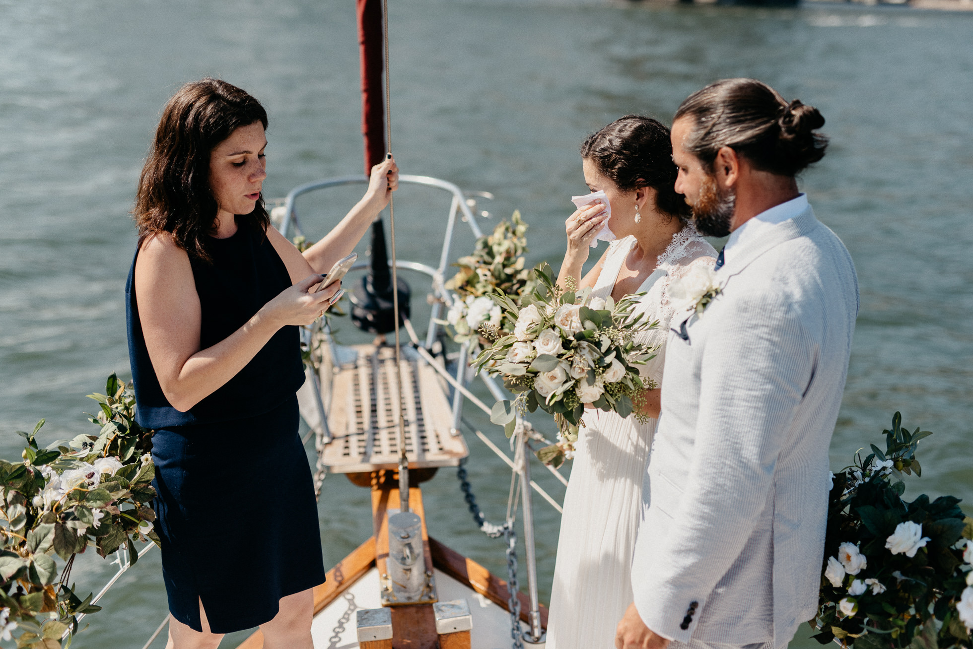 emotional wedding ceremony boat